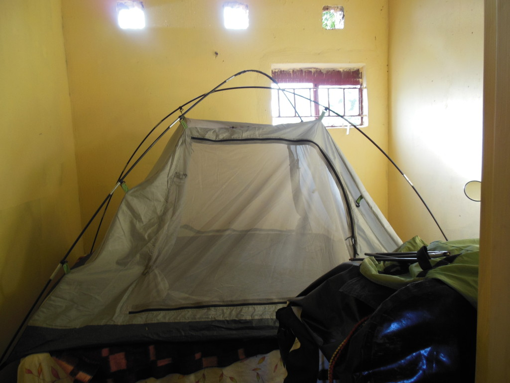 One particular room I rented was infested with ants, mosquitos and large spiders - Naturally the tent goes on top of the bed in this situation